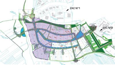 A ce jour, la zone en mauve fait l'objet de réservations, elle représente le secteur en zone franche. En effet seul le quart de la ZAC N°II est défiscalisé. La zone est à 94% sur le ban communal de Didenheim (à droite) et se prolonge côté sud de la rocade, en passant dessous (à gauche). A noter : les nouveaux noms de la vallée 3 : rue de Bruxelles et rue de Strasbourg, rue de Rome, rue de Lisbonne…