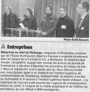 Article paru dans le journal l'Alsace du 03/02/10
