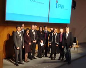 Les lauréats de la première édition du concours Yago, et Philippe Lamberger de la Cofimé, président du concours.