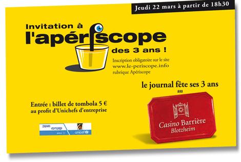 Le périscope, journal économique de Mulhouse et environs, apériscope des 3 ans