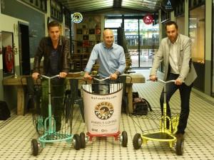 Julien Die Giusto (directeur de l'agence Mars Rouge, Andrea Bon et Stéphane Saidani à l'Engel's Coffee