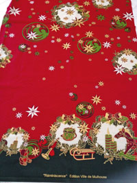 """Tissue de Noël """"Réminiscences"""" créé par Marie-Jo Gebel, une création riche, dans l'esprit historique des étoffes mulhousiennes"""