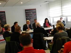 Conférence de presse, de gauche à droit : Gianni Pavan, Markus Schwyn, Luc Gaillet et Catherine Aubertin.