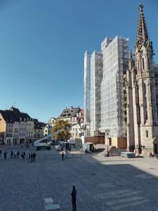 Place de la Réunion à Mulhouse qui accueille chaque année le marché de Noël