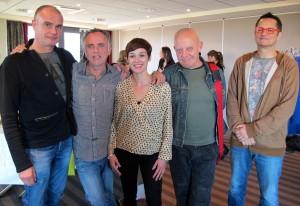 De gauche à droite : jean-Christophe,Przybylski, Renato Montanaro, la galeriste Orlinda Lavergne, Yves Carrey et Paxal