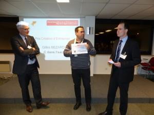 Entreprise C dans l'sac, représenté par Gilles Bezard. Prix catégorie création d'entreprise remis par KPMG (prestation conseil) et le Pays de la région mulhousienne (chèque de 1500 euros)