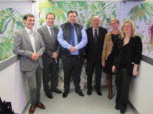 De g. à d. Yves Demangel et Philippe Choukroun (AAA), Jean-Marc Scherrer (Barrisol), Daniel Meyer (Acteco-3f), Chantal Henna et (CCI-SAM et Acteco3f)